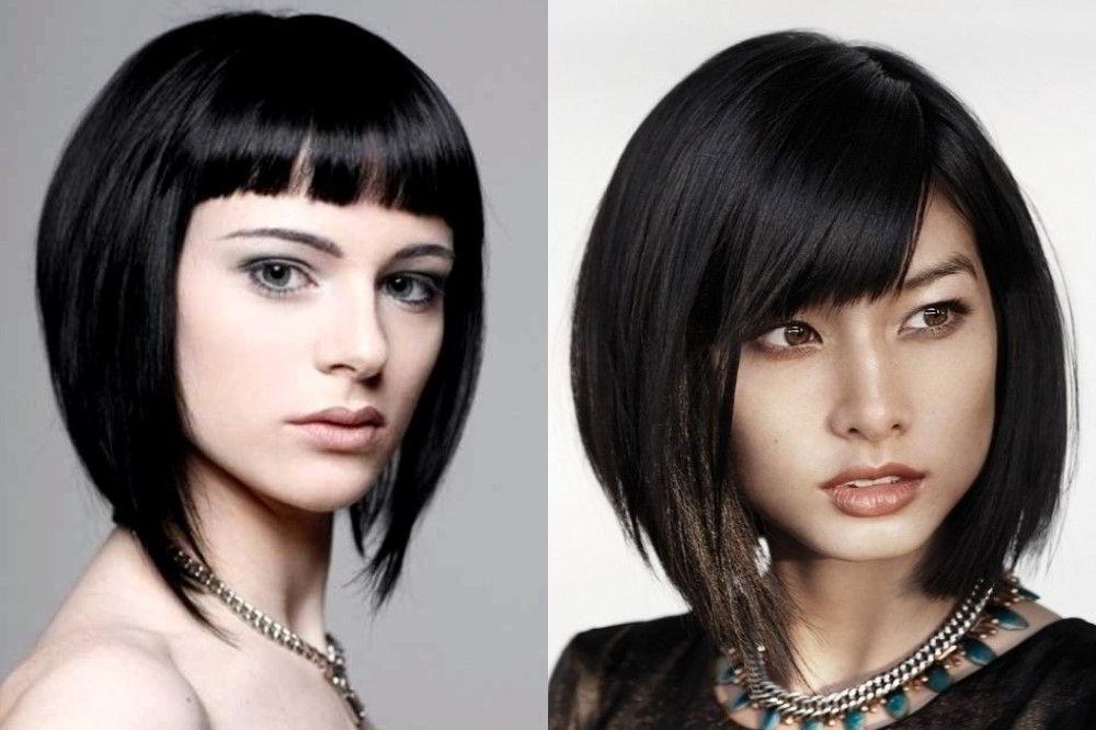 Удлиненный боб с челкой на средние волосы 2020