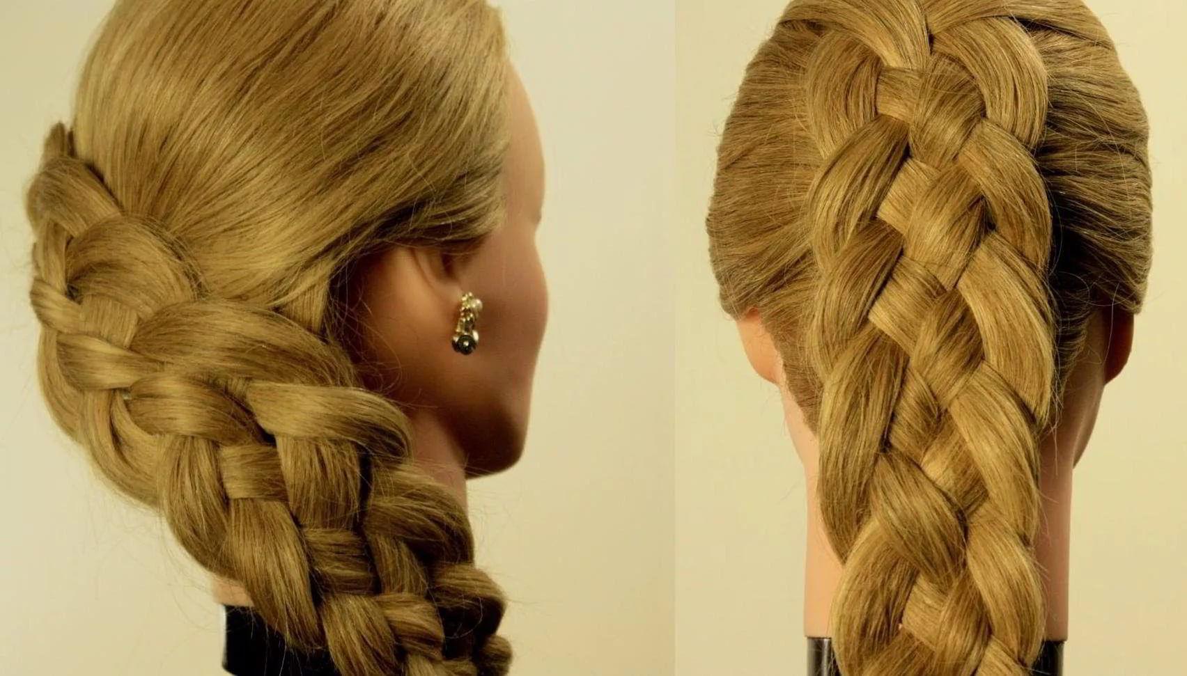 Четырехрядная коса на средние волосы 2020