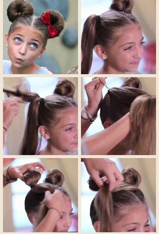 Модная прическа микки-маус на длинные волосы для девочек 2019