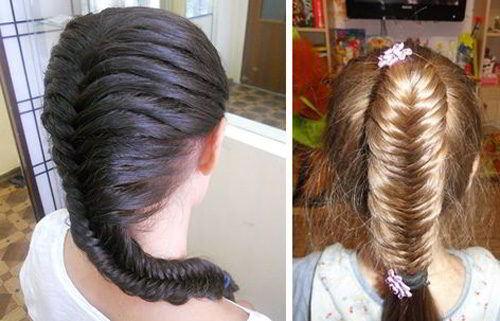 Модная прическа «Рыбий хвост» на средние волосы для девочек 2020