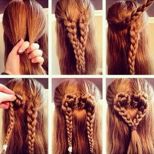 Модная прическа«сердечко из косичек»на длинные волосы для девочек 2020