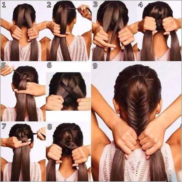 Модная прическа «рыбий хвост» на длинные волосы для девочек 2019
