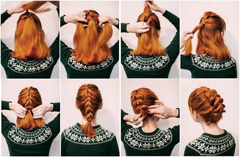 Модная прическа «Дракончик» на средние волосы для девочек 2019