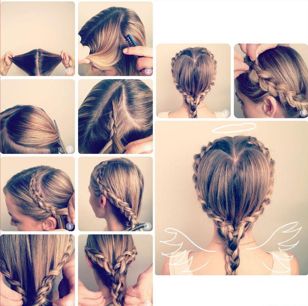 Модная прическа «Сердечко из кос» на средние волосы для девочек 2020