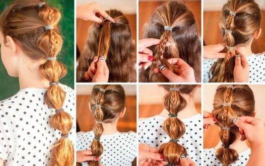 Модная прическа фонарики на длинные волосы для девочек 2019