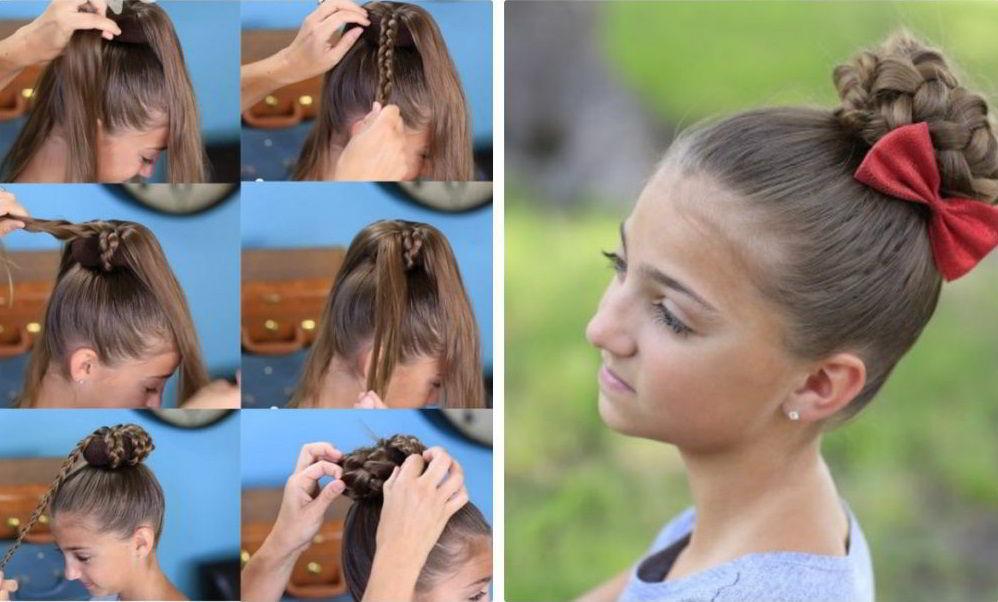Модная прическа гульки из кос для девочек в школу 2020