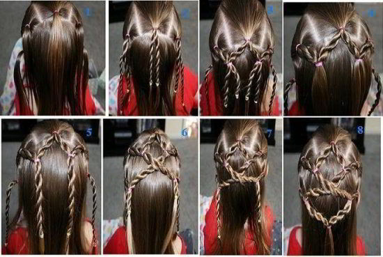 Модная прическа паутинка из кос на длинные волосы для девочек 2019