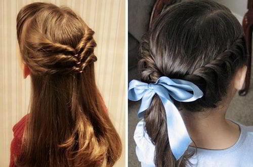 Модная прическа«Вывернутый хвост»на средние волосы для девочек 2019