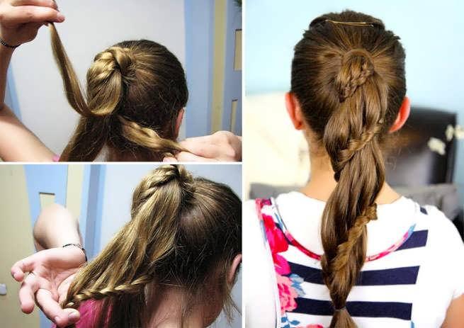 Модная прическа коса из хвоста для девочек в школу 2020
