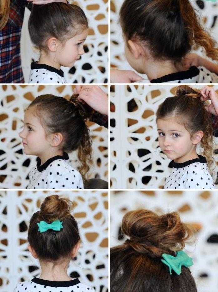 Модная прическа «Кудрявый пучок» на средние волосы для девочек 2020