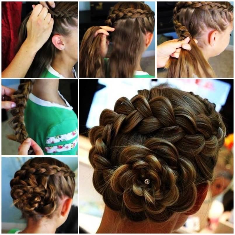 Модная прическа «Жемчужина» на средние волосы для девочек 2020