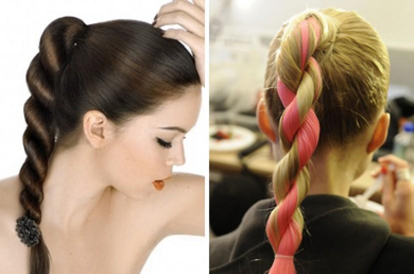 Как сделать косу хвостиками 60