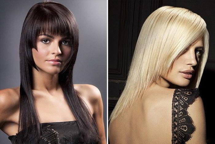 Модная асимметричная прическа на длинные волосы 2020