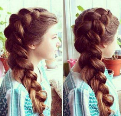 Модная прическа пучок из кос на длинные волосы для девочек 2020