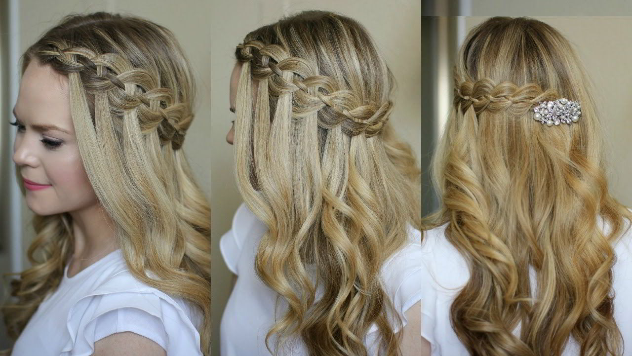 Модная прическа водопад на длинные волосы для девочек 2020