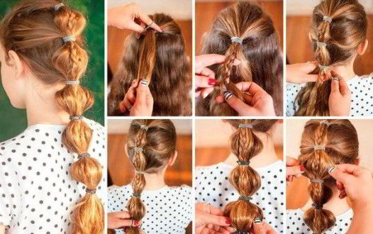 Модная прическа фонарики на длинные волосы для девочек 2020