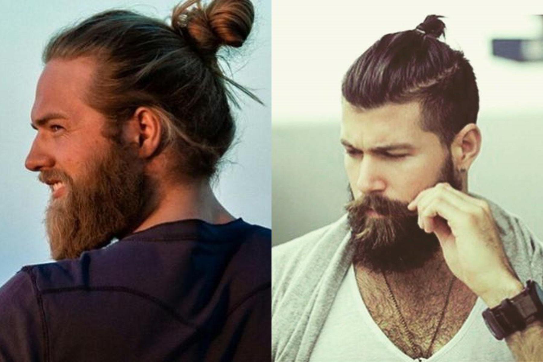 Модная мужская стрижка «Man bun» на длинные волосы 2020